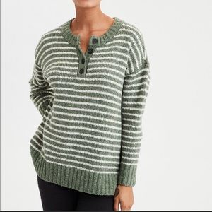 American Eagle Henley Sweater Knit Green White XS
